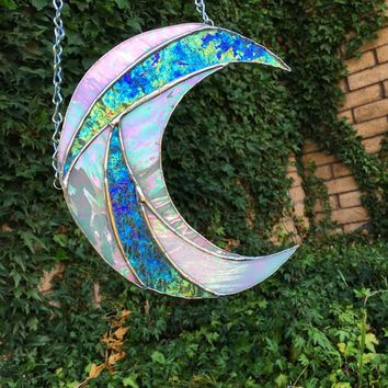 Stained Glass Crescent Moon Suncatcher