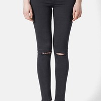 Topshop Moto 'Jamie' Ripped High Rise Ankle Skinny Jeans