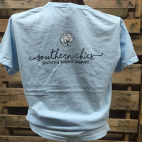 Southern Chics Comfort Colors Cotton Logo Southern Apparel Girlie Bright T Shirt