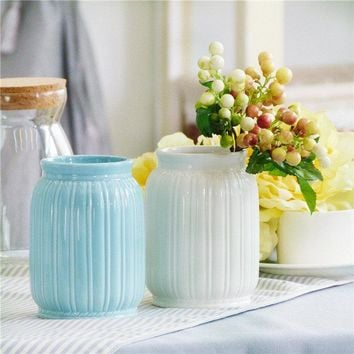 Roman Stripes Simple Vase Handmade Ceramic Flower Plant Bottle Pot Home Garden Ornaments Decor