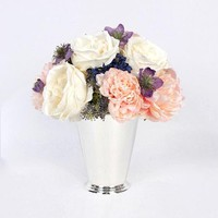 Pink White Rose and Peony Flower Arrangement Tall