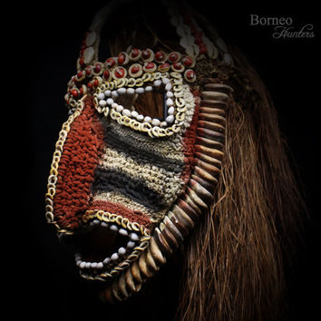 Papua Mask Oceanic Abelam Baba Woven Mask Decorated With Shells Seeds Bark Fiber Dance Ceremony Harvest Mask Collectible Home Decor Art