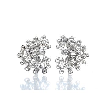 Set of 2 Beautiful, Premium Quality faux diamond Peacock design Silver Napkin Rings for dinners, holidays and weddings NR50311-S