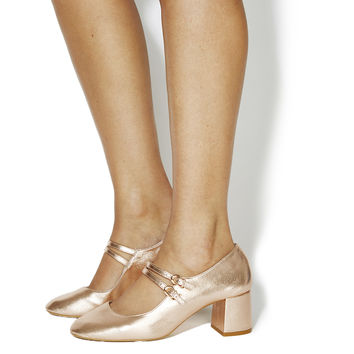 Office Mindy Mary Jane Block Heels Rose Gold Leather - Mid Heels