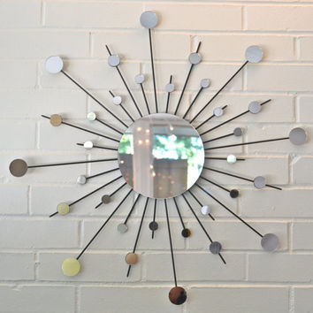 30 Inch Metal Sunburst Wall Art Interior Design Sun Mirror Starburst Atomic Modern Contemporary Retro Style 30""