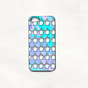 Fingers fuck rainbow case iPhone 5 5s & 4 4s Hard Case Black/White/Transparent Grunge Indie Hipster Tropical Summer Tumblr One direction