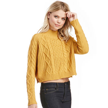 Ribbed Trim Cropped Cable Knit Sweater