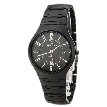 Skagen 817LBXC Mens Denmark Black Dial Black Ceramic Bracelet Quartz Watch