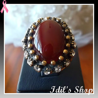 Authentic Turkish Ottoman Style Bronze Encrusted Ring With Onyx & Zirconia Stones. Ring Number Is 7 In US Size.