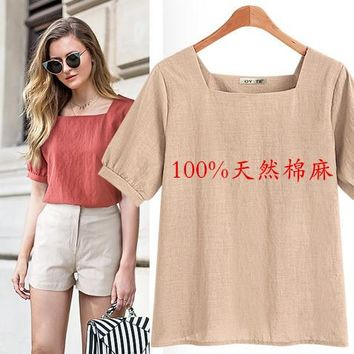 2019 Europe and the United States new U-neck short-sleeved women's solid color cotton and linen women's shirt