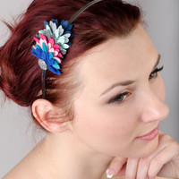 Blue Pink and Gray Felt Headband with Bead Accent  by eteniren