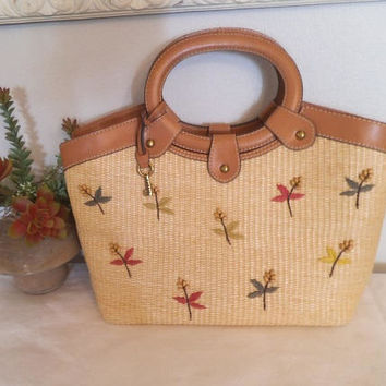Vintage Fossil Straw Handbag ~ Beautiful wood beading ~ Brass Fossil Key