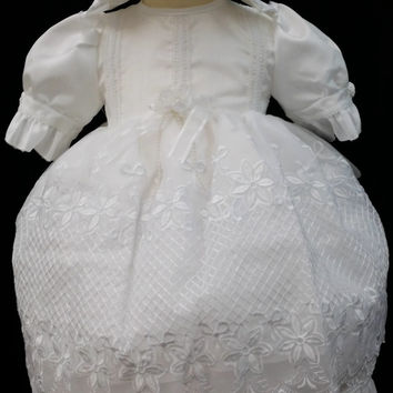 Infant Toddler Girls Fouger 4 Kids 3932 Baptism Christening White Faux Silk Dupioni Lace overlay pearl button gown dress hat bonnet 3 pc set