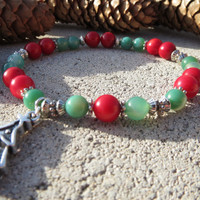 CHRISTMAS Bracelet Coral  Agate Christmas Tree Charm Bracelet, Gifts For Mom, Gifts For Her, Christmas Gifts, Free Shipping, Xmas