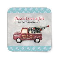 Peace Love & Joy Toy Truck Merry Christmas Square Sticker