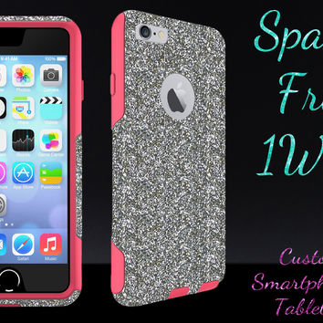 """OtterBox Commuter Series Case for 4.7"""" iPhone 6 - Custom Glitter Case for 4.7"""" iPhone 6 - White Gold/Pink"""