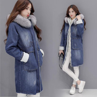 2016 New Winter Jacket Women Real Fox Fur Collar Medium Length Parkas Lamb Lining Fashion Washed Denim Coat Plus Size Female