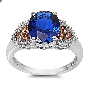 925 Sterling Silver CZ Simulated Champagne Diamond Heart Sided Simulated Sapphire Ring 11MM