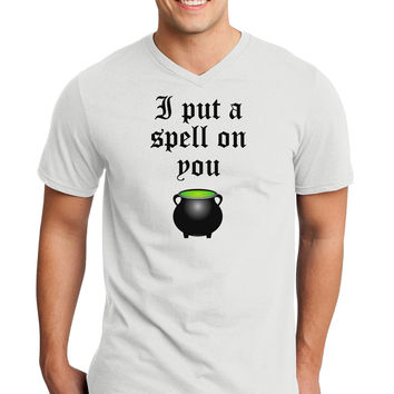 I Put A Spell On You Witches Cauldron Halloween Adult V-Neck T-shirt