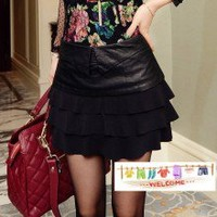 Pretty Black Clipping Leather Flouncing Tiered Mini Skirt