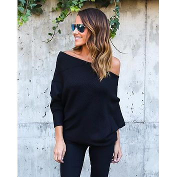 MISAUU Sexy Off Shoulder Knitted Sweater Women Fashion Pullovers Knitwear Autumn