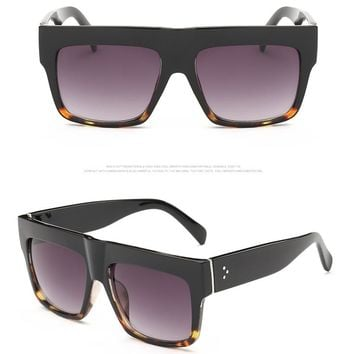 New Rivet Flat Top Square Women Sunglasses Fashion Famous Brand Designer Superstar Sunglasses