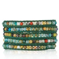 Aqua Agate Mix Wrap Bracelet on Teal Leather