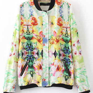 Tropical Print Long Sleeve Flight Jacket