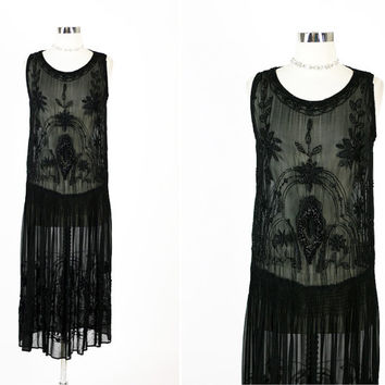 1920s 20s Antique Vintage Great Gatsby Flapper Beaded Illusion Sheer Black Party Dress
