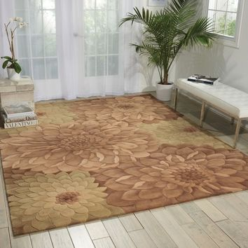 Hand-Tufted Tropical Taupe Green Rug | Overstock.com Shopping - The Best Deals on 3x5 - 4x6 Rugs