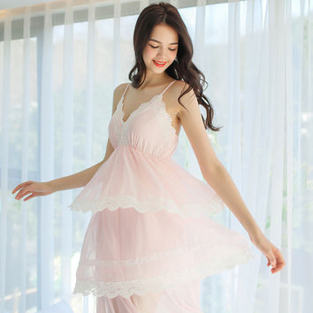Free Shipping 2017 New Summer Lace Fairy Nightdress Women's Long Nightgown Nylon and Modal Nightshirt Princess White Pink Slip