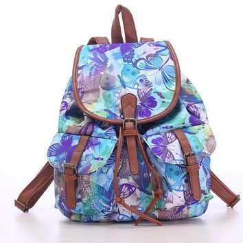 CREYON Day First Blue Butterfly Travel Bag Canvas Lightweight College Backpack