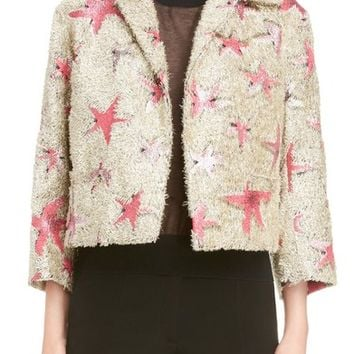 Dries Van Noten Starfish Shaggy Crop Jacket | Nordstrom