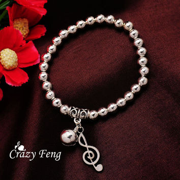 Free shipping Fashion Musical Notes Women's Bracelets Silver Plated wrist Beads Stretchy Bracelets & Bangles Christmas Gifts