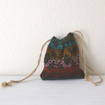 1960s Psychedelic Hippie Cinch Pouch Black Multicolor