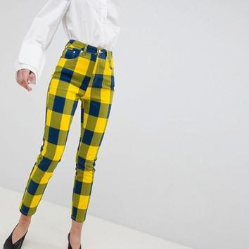 ASOS DESIGN Farleigh High Waist Slim Mom Jeans In Yellow Check at asos.com
