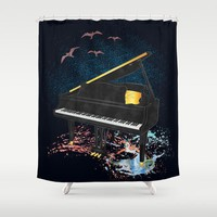 Sound of Piano Shower Curtain by Berwies