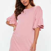 Missguided - Pink Frill Sleeve T Shirt Dress