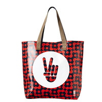 Lady Parts Justice Orla Kiely Tote / Red Hand Screenprinted Tote Profiting women's rights
