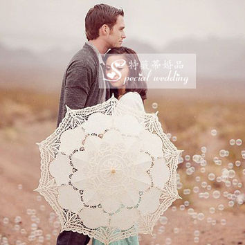 All Handmade Adult Size White Black Victorian Lace Parasol with Hook Handle for Wedding Umbrella Parasols 2016