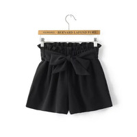 women sweet bow tie sashes shorts elastic waist basic black ladies summer streetwear casual shorts pantalones cortos DK333