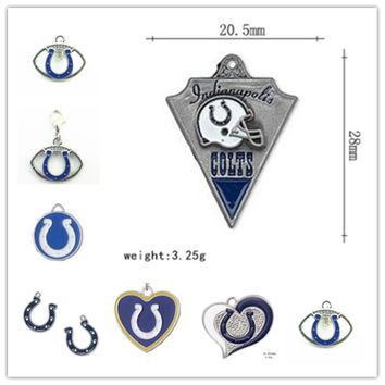 7 Styles Enamel Football Indianapolis Colts Dangle Charms Pendant For DIY Necklace & Bracelet & Earring 20pcs/lot