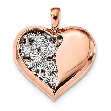 14K Rose Gold True Heart With White Gold Gears Necklace Charm