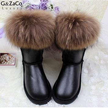 G&Zaco Luxury Brand Ultralarge Natural Fox Fur Snow Boots Genuine Leather Women Middle Calf  Boots Real Fur Cowhide Snow Boots