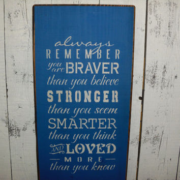 wooden sign, you are braver, subway art, wall hanging, winnie the pooh, wall decor