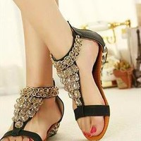 Roman Beaded Leopard Print Flat Sandals from CocoCouture