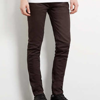 BURGUNDY COATED STRETCH SKINNY JEANS - Men's Jeans - Clothing