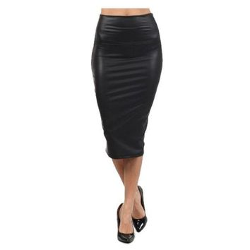 CREY78W High Quality High-waist Faux Leather Pencil Skirt