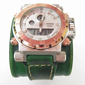 Mens wrist watch leather bracelet, Steampunk Watch, Gifts for Him, Military Watch, Watch Strap, Green Watch Cuff