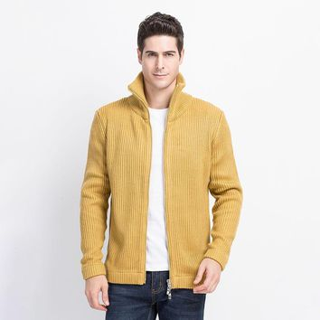 Men Thick Wool Sweater Fashion Solid Men's Knitted Cardigan Autumn Winter Male Knitting Clothing Plus Size